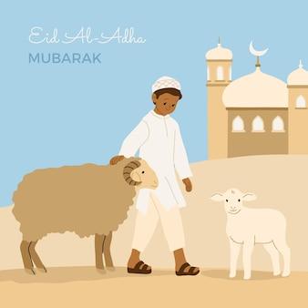 Gente disegnata a mano che celebra l'illustrazione di eid al-adha