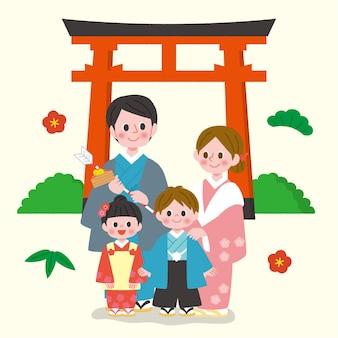 Persone disegnate a mano che celebrano hatsumode
