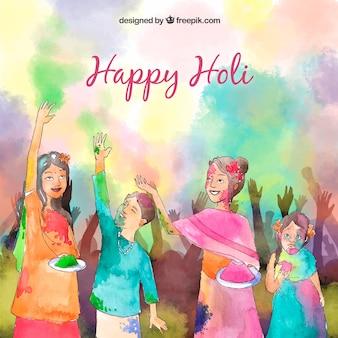 Hand drawn people celebrating holi festival