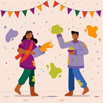 Holi 축제를 축하하는 손으로 그린 사람들