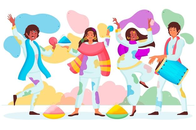 Рисованные люди празднуют фестиваль холи