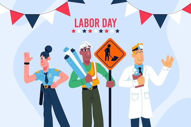 労働者の日を祝う手描きの人々