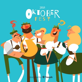Hand drawn people celebrating oktoberfest