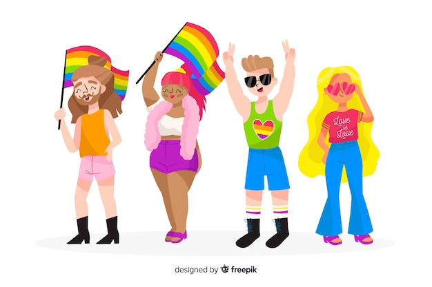 Hand drawn people celebrating pride day