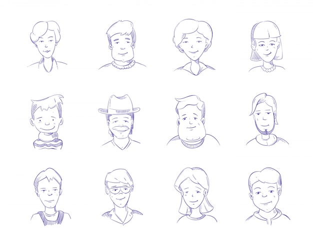 Hand drawn people characters