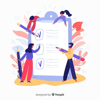 Hand drawn people checking giant checklist illustration
