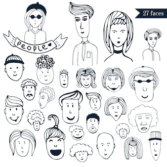 Hand-drawn people crowd doodle collection of avatars. 27 different funny faces.cartoon vector set. people icons