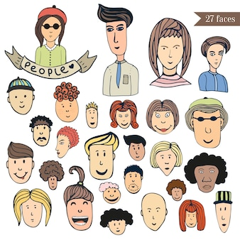 Hand drawn people crowd doodle collection of avatars. cartoon people vector set. sketch icons with funny faces