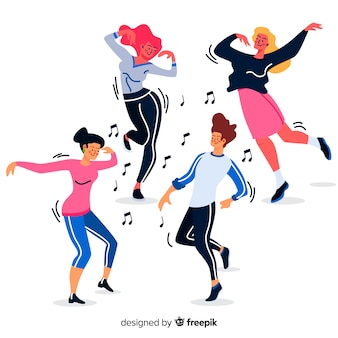 Hand drawn people dancing background