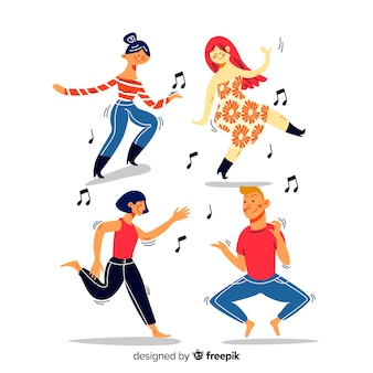 Hand drawn people dancing collection