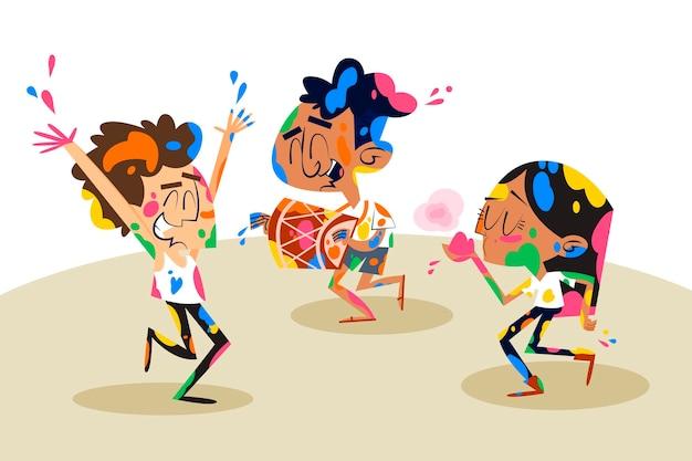 Gente disegnata a mano che balla nel festival di holi di colori
