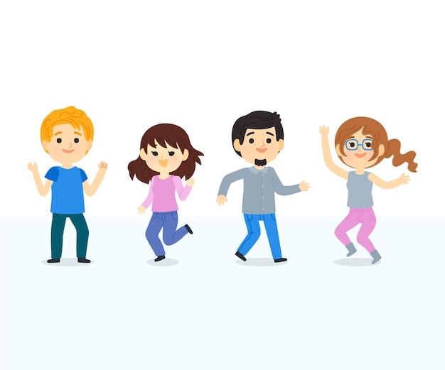 イラストを踊る手描きの人々