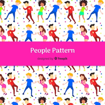 Hand drawn people dancing pattern