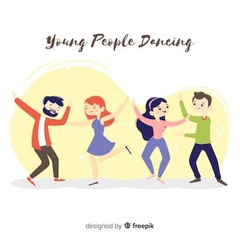 Hand drawn people dancing set