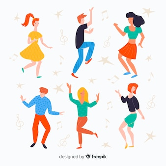 Hand drawn people dancing set