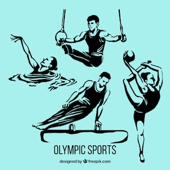 Hand drawn people doing olympic sports
