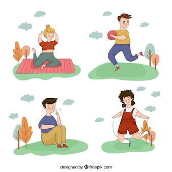 Hand drawn people doing outdoor activities