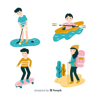 Hand drawn people doing outdoors activities pack