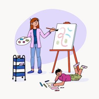 Hand drawn people hobbies