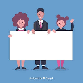 Hand drawn people holding blank banner