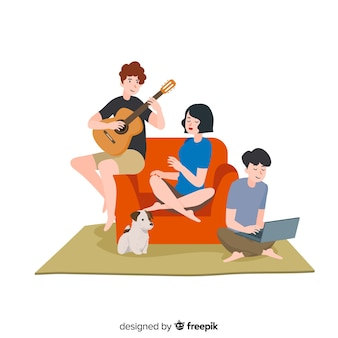 Hand drawn people at home background