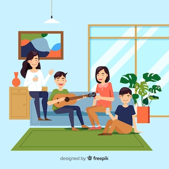 Hand drawn people at home illustration