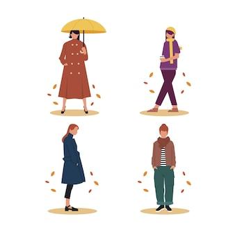 秋のセットで手描きの人々