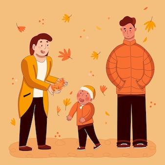 가을에 손으로 그린 사람
