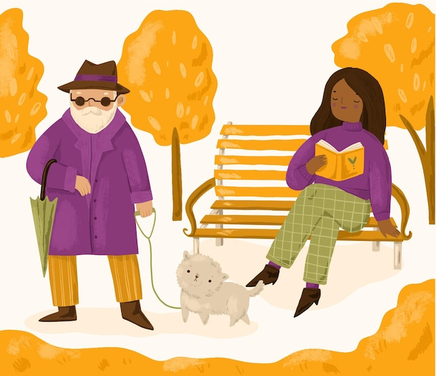 秋の手描きの人々