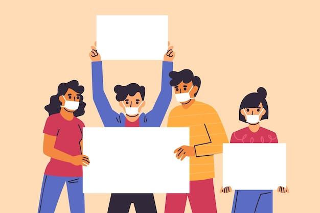 プラカードと医療マスクで手描きの人々