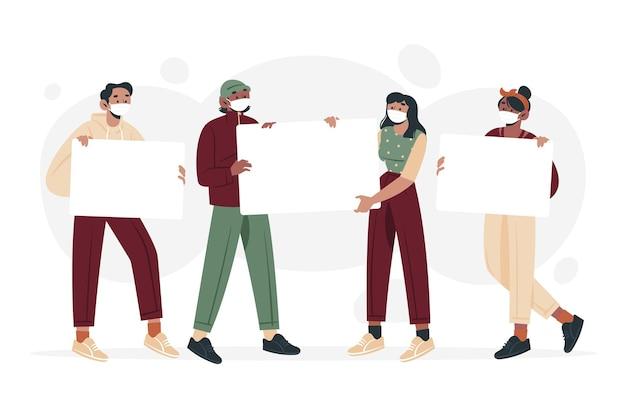 Рисованные люди в медицинских масках с плакатами