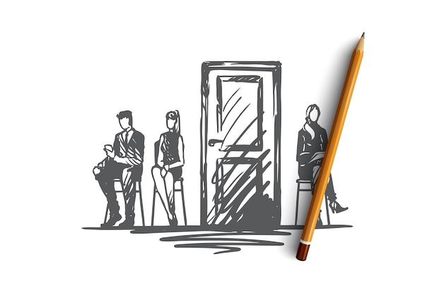 Ручной обращается люди в офисе перед тестированием эскиза концепции