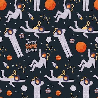漫画の宇宙飛行士の惑星の星のスローガン空間要素との空間のシームレスなパターンで手描きの人々