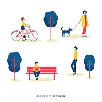 Рисованной люди в парке