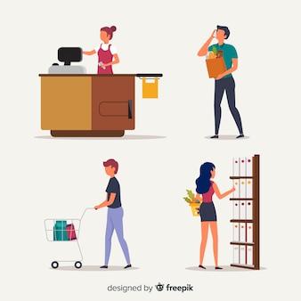 Рисованной люди в наборе супермаркетов