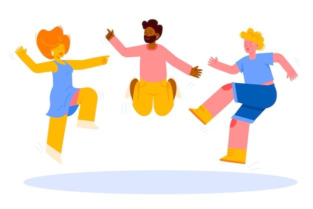 재미를 위해 점프 손으로 그린 사람들