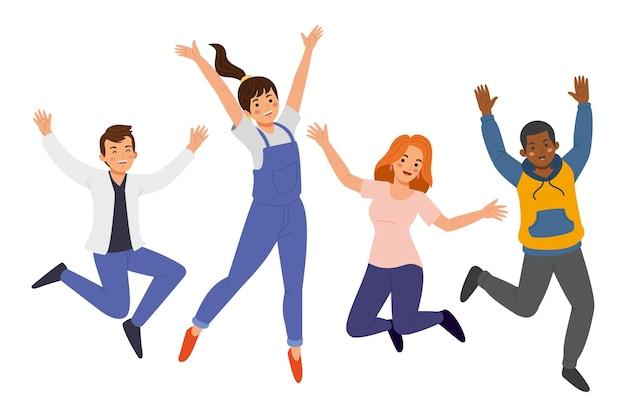 イラストをジャンプする手描きの人々
