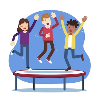 Hand drawn people jumping together on trampoline