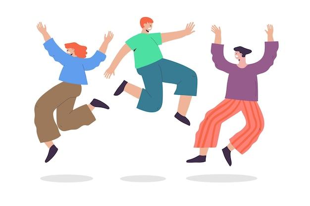 손으로 그린 사람들이 함께 점프
