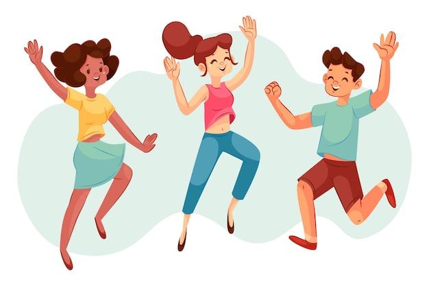 Рисованные люди прыгают вместе