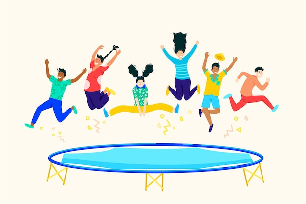 Hand drawn people jumping on trampoline