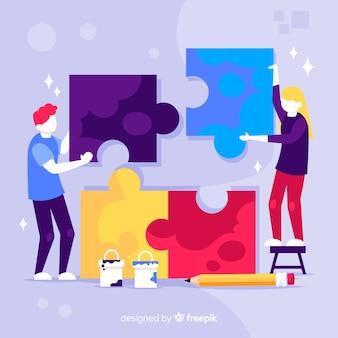 Рисованной люди делают фон головоломки