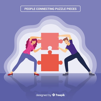Hand drawn people making puzzle illustration