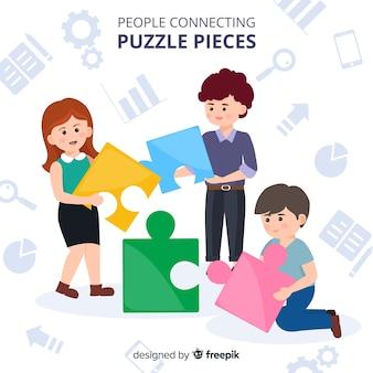 Hand drawn people making puzzle illustration