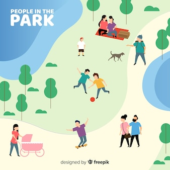 Hand drawn people in the park collection