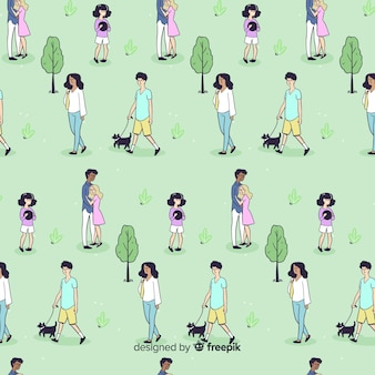 Hand drawn people at the park pattern