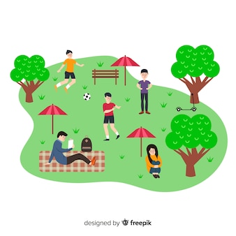 Hand drawn people in the park