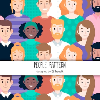 Hand drawn people pattern background