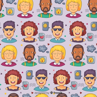 Hand drawn people pattern
