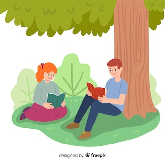 Hand drawn people reading outdoors background